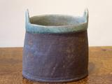 Stoneware oval 2-handled vessel  by Paul Philp