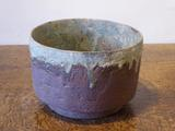 Stoneware bowl with textured rust<br/>body & turquoise rim & interior by Paul Philp