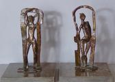 Pair of bronze sculptures <br/> of standing nudes by
