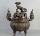 Chinese bronze censer & cover