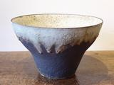 Stoneware bowl with black exterior,<br/> pale interior & rim runs by Paul Philp